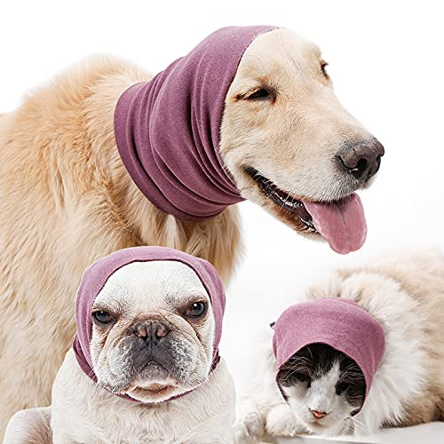 Calming Dog Ears Cover for Noise Reduce, Pet Hood Earmuffs for Anxiety Relief Grooming Bathing Blowing Drying, Puppy Neck Ear Warmer for Small Medium Large Dog Cat, Stretchy Head Sleeve Snood Winter
