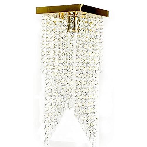 Lustre Pendente Plafon Cristal Crilick Pl7201 Dourado