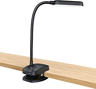 Desk Lamp Clip On Light-7W 2600mAH Flexible Gooseneck Battery Operated Rechargeable Reading Lamp With Clamp & Stepless Brightness For Desk,Piano,Bed Headboard And Computers(Black)