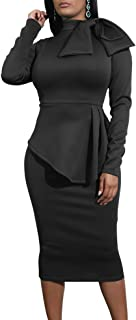 LAGSHIAN Women's Sexy Elegant Long Sleeve Peplum Ruffle Bow Work Bodycon Pencil