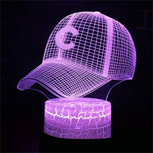 HLHHL-Lamp Casquette De Baseball 3D LumièRe De Nuit/LED Lampe à éConomie D'éNergie Touche Tactile TéLéCommande LumièRe CréAtive Cadeau De LumièRe