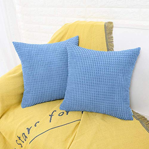 HWY 50 Decorative Throw Pillows Covers, Corduroy Soft Comfy Solid Light Blue Pillow Covers Cushion Cases Set for Couch Sofa Bedroom Bed 20 x 20 inch Pack of 2, Corn Striped Decoration