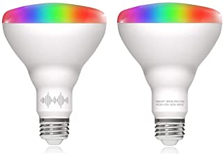 Helloify BR30 Smart WiFi LED Light Bulbs, RGBCW Multi-Color Changing, Warm to Cool White Dimmable, Work with Alexa & Google Home (No Hub), 60W Equivalent E26, RGB+2700K-6500K, 2 Count