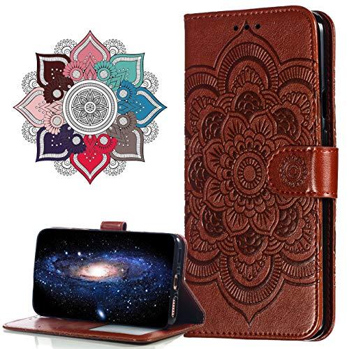 MRSTER Hülle Kompatibel mit Motorola One Hyper, Premium Leder Flip Schutzhülle [Standfunktion] [Kartenfächern] PU-Leder Schutzhülle Brieftasche Handyhülle für Motorola One Hyper. LD Mandala Brown