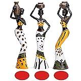 MonLiya 3 unidades de escultura africana, figura femenina tribal señora estatua decoración coleccion...