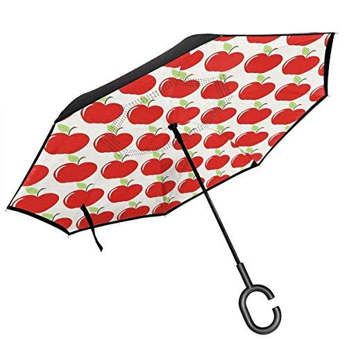 Umkehr-Regenschirm mit großem Stick, 2-lagig, faltbar, Winddicht, UV-Schutz, langlebig, mit C-förmigem Griff, innen Äpfeldruck, für Auto, Regen, Outdoor, 8 Skelett