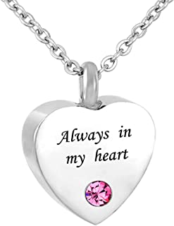 Always in My Heart Cremation Jewelry 12 Birthstones Urn Necklaces for Ashes Memorial Ashes Holder with Fill Kit