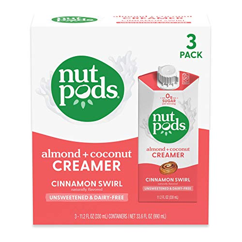 nutpods Cinnamon Swirl, (3-Pack), Unsweetened Dairy-Free Creamer, Made from Almonds and Coconuts, Whole30, Gluten Free, Non-GMO, Vegan, Kosher