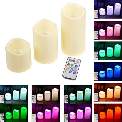 Justdolife 3 stuks LED-kaars op batterijen, vlamloze kaarslicht, LED-theelicht met afstandsbediening