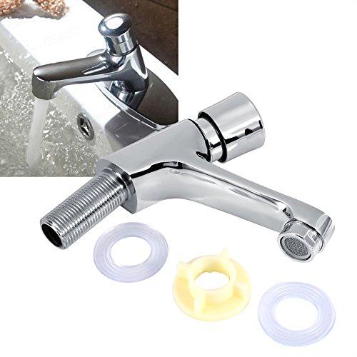 Grifo de lavabo, cromado cierre automático ahorro de agua retraso fregadero grifo para Cocina baño