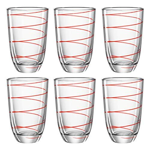 montana: LD Set/6 Rouge Gobelet?: Jolly avec décoration Achat Maison Dessous, jus Juice Gobelets Verre à Eau Long Drink Tasse