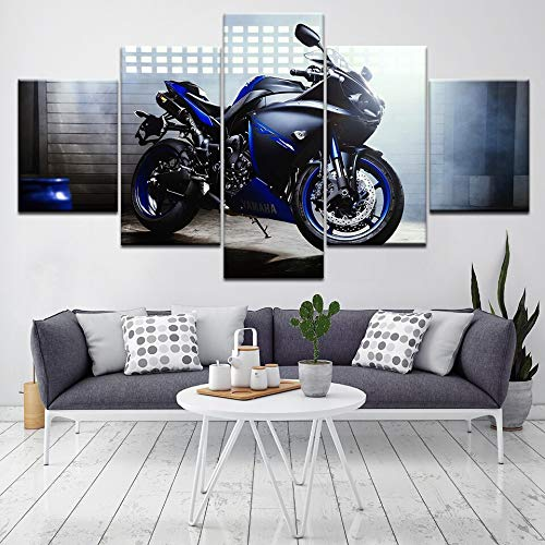 5 piezas de pintura en lienzo Cool Racing Motorcycle HD Wallpapers Art Print Póster moderno Pintura de arte modular para sala de estar Home Decor_200x100cm