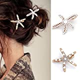 Bartosi Pearls Crystal Hair Clips Starfish Gold Hair Barrettes Bride Wedding Head Pieces Ponytail Holder Hair Accessories for Women and Girls (Pack of 2)