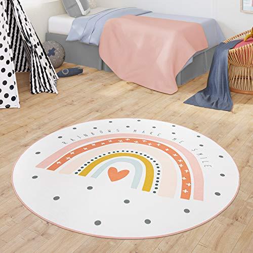 TT Home Teppich Kinderzimmer Kinderteppich Babymatte Regenbogen Motiv Mit Herz Design, Farbe:Creme, Größe:Ø 150 cm Rund