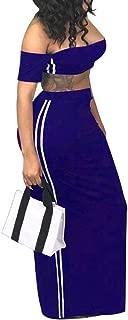Women's Sexy Off Shoulder Bandeau Tube Crop Top Long Bodycon Skirt 2 Pieces Dress