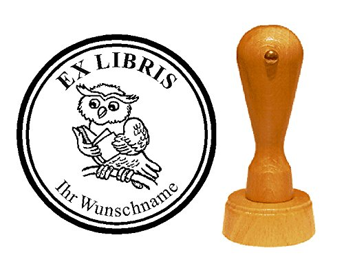 EX LIBRIS EXLIBRIS Stempel « lesende EULE » Durchmesser ca. Ø 40 mm - mit persönlichem Wunschnamen und Motiv