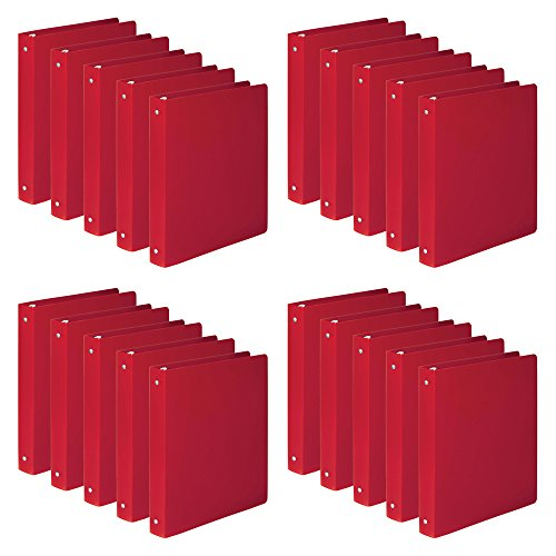 """ACCO AccoHide 1 Inch Round Ring Binders, 8.5"""" x 11"""", Semi-Rigid Cover, Executive Red, 1 Case, 20 Binders/Case (A7039719CS)"""