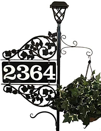 Personalized Address Sign - Reflective Double Sided Driveway Marker with 60 inch Pole Solar Light and 2 plant hook 911 Highly Visible