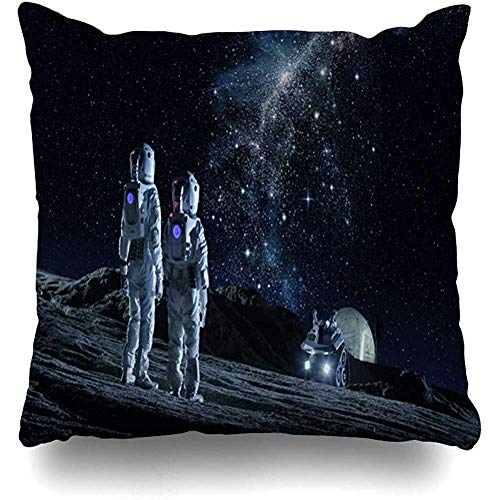 Kay Sam Funda de Almohada, Blue Challenge Moon Dos astronautas Trajes espaciales Stand On Fi Science Travel Earth Galaxy Planet Base Fundas de cojín con Estampado de Moda
