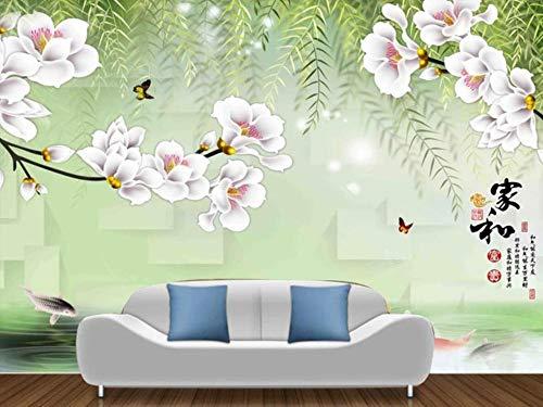 Papel Pintado Pared 3D Fotomurales Magnolia De Mimbre Flor Mariposa Carpa Pared Papel Tapiz 3D Mural Pared Salon Decorativos
