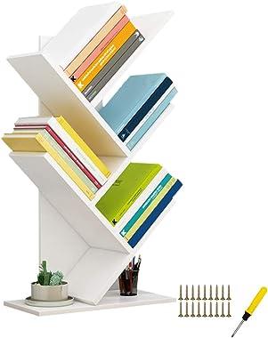 QUMENEY Tree Bookshelf, Wood Book Tower, 5-Shelf Bookcase - Premium Books/CDs/Albums/Files Holder, Display Storage Rack Organ