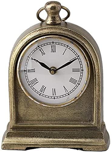 Mute Mantel Reloj Mesa Antiguo Metal Aluminio Manto Relojes de Escritorio Alimentados por Baterías Casa Sala Cocina Decorativa Nórdica Diseño Creativo Regalos (Color: Dorado)
