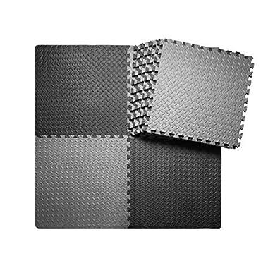 innhom Interlocking Foam Mats Puzzle Exercise Mat with EVA Foam Interlocking Tiles, 12 Tiles, 46 SQ. FT, Black and Gray