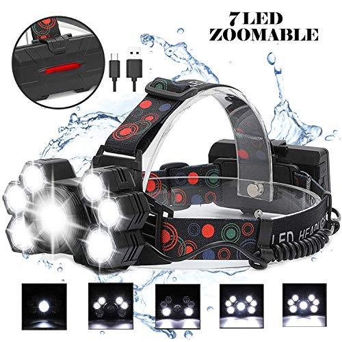 Luce Frontale Led Ricaricabile 3250mAh, 2000 Lumen REEXBON Lampada Frontale Zoomable 7 LED con 5 Modalità per Escursioni, Campeggio, Ciclismo, Lavoro, Pesca [Classe di efficienza energetica A+]