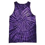 Colortone - Camiseta sin Mangas con Efecto teñido para Mujer (2XL) (Espiral Morada)