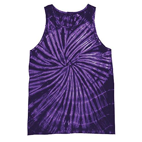Colortone - Camiseta sin Mangas con Efecto teñido para Mujer (Extra Grande (XL)) (Espiral Morada)