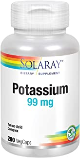 Solaray Potassium 99mg | Fluid & Electrolyte Balance Formula | Heart, Nerve & Muscle Function Support | 200ct