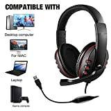 SONY PS3 PS4 PCゲーム機能用USBヘッドセットイヤーレスステレオヘッドセットノイズ低減、軽量、ハンズフリーまたは有線使用、折りたたみ式(赤)