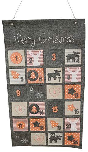 Khevga Adventskalender om te vullen 2019 kinderen volwassenen vilt grijs 45x80 cm