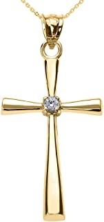 Solitaire Diamond Cross Pendant Necklace in 14k Yellow Gold