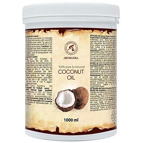 Coconut Oil 1000ml - Indonesia - Cocos Nucifera Oil - 100% Pure & Natural Cold Pressed - Unrefined Coconut Oil - Best Benefits for Skin - Hair - Face - Body Care - Unrefined Coconut Oils
