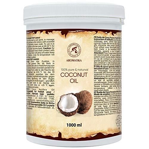 Kokosöl 1000ml - Cocos Nucifera - Indonesien - Kaltgepresst - 100% Reines Kokosnussöl - Unraffiniert - Intensive Pflege für Gesicht - Körper - Haare - Haut - Körperpflege Öl
