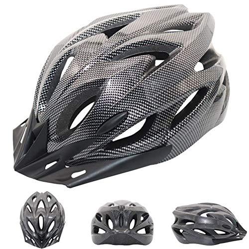 QIUBD Casco Bicicleta con Visera, Protección De Seguridad Ajustable Ligera para Montar En Bicicleta Casco De Bicicleta BMX Scooter Skate Mountain Road Hombres Mujeres Adulto (Carbon Fiber)