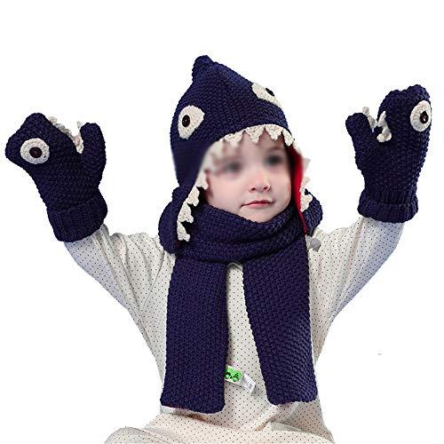 Quskto Kinder Hoed Sjaal Handschoenen Driedelige Cartoon Haai Baby Hoed Warm Pak Grote Winter Gift Voor Uw Kinderen