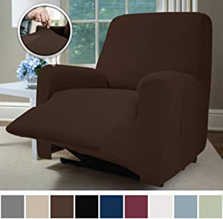 Sofa Shield Original Fitted 1 Piece Recliner Slipcover, Soft Stretch Material, Seat Width Up to 28 Inch Furniture Protector, Washable Covers for Recliners, Spandex Fit Slip Cover, Recliner, Brown