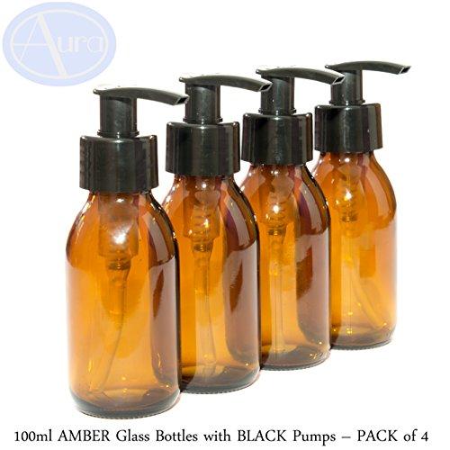 Bernsteinfarbene Glasflaschen mit schwarzem Pumpspender, 100 ml, 4Stück