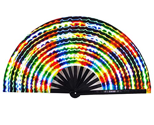 Amajiji Large Rave Folding Hand Fan for Men/Women, Chinease/Japanese Bamboo Hand Fan, Festival Accessories Performance Decoration Gift Dance Handheld Fan (Electromagnetic Light)