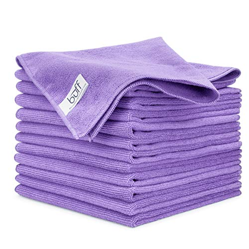 Buff Microfiber Cleaning Cloth | Purple (12 Pack) | Size 16' x 16' | All Purpose Microfiber Towels - Clean, Dust, Polish, Scrub, Absorbent