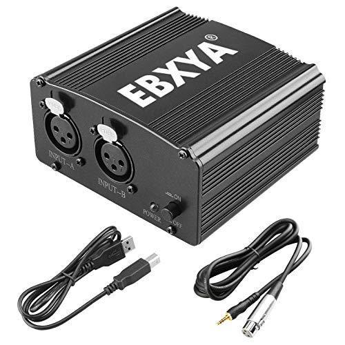 EBXYA - Alimentatore phantom a 2 canali, 48 V, con cavo USB, cavo XLR a 3,5 mm, jack per tutti i microfoni a condensatore musicale, dispositivi di registrazione