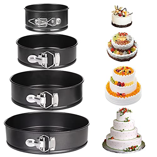 Moldes para Pasteles, Comius Sharp 4 Piezas Redondo Spring Forma Set, Antiadherente y a Prueba de Fugas, Sartén para pasteles con Fondo Extraíble (4   7   9   10 )