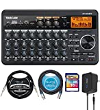 TASCAM DP-008EX 8-Track Digital PocketStudio Multi-Track Audio Recorder Bundle with Blucoil 5V AC Adapter, 16GB SDHC Memory Card, 10' Straight Instrument Cable (1/4'), and 10' XLR Cable