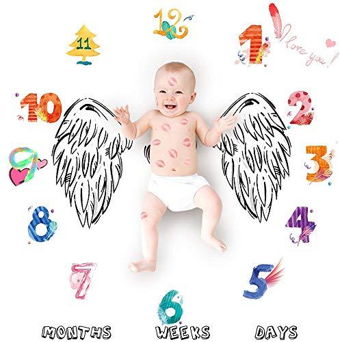 nouvelle mensuel photo prop contexte fleurs nombre angel escadre imprimé la photographie nouveau - né couverture