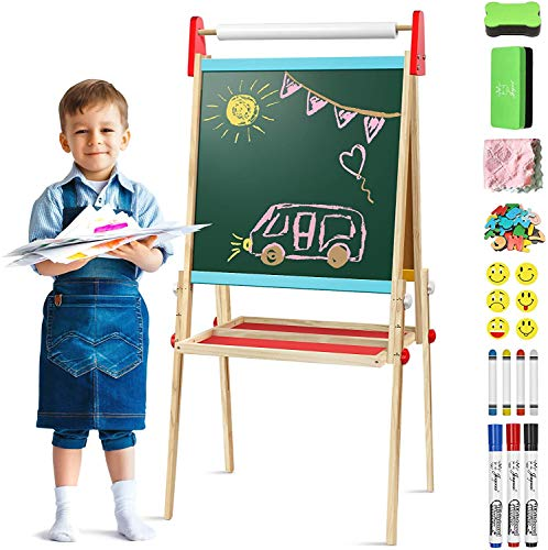 Joyooss Holz Kinder Staffelei mit Papierrolle, Faltbare Doppelseitige Magnetische Whiteboard und Chalkboard, Höhenverstellbare Standtafel 100-119cm, Schreibtafel mit Zubehör