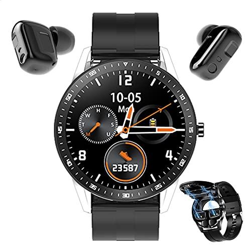 HQPCAHL 2 in 1 Smartwatch Reloj Inteligente Auriculares Pulsera Actividad Inteligente De 1,28' Auricular Bluetooth TWS, con Monitor De Frecuencia Cardíaca Y Presión Arterial, Impermeable IP67,Plata