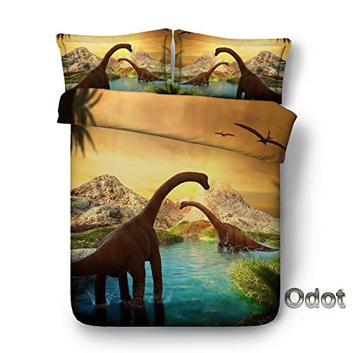 Odot Juego de Ropa de Cama Dinosaurio 3D, Funda de Edredón Nórdico de 3 Piezas, Anti-ácaro Defensa Alérgico, Microfibra Poliéster Funda de Almohada (150 * 200cm,Dragón Terremoto)