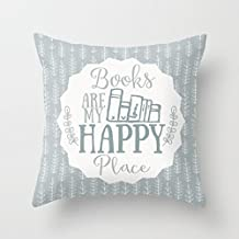 Yahouse Decorative Pillow Case Books are My Happy Place Cushion Cover 18